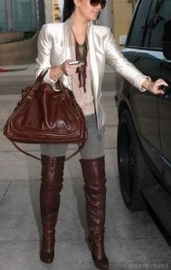 Kim looking good with boots and bag. - flipped