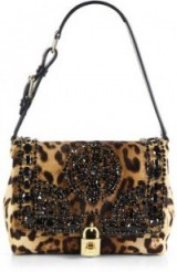 Dolce & Gabbana black embellished leopard print calf hair shoulder bag.