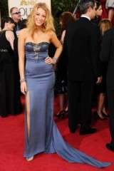 Blake Lively in a blue strapless Nina Ricci gown at the 2009 Golden Globe Awards. #blakelively celebrity fashion – red carpet gowns – Blake Lively's style evolution