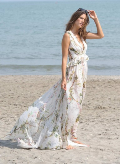 Alessandra Ambrosio at Lido di Venezia photocall, wearing a plunging, floral chiffon maxi dress from Philosophy Di Lorenzo Serafini, Venice Film Festival, 3 September 2015. Dress from barneys.com. Celebrity fashion | star style | events | long designer dresses