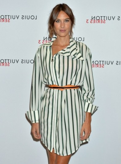 Style icon…Alexa Chung wearing a stripe shirt style dress, attends the Louis Vuitton Series 3 VIP Launch on September 20, 2015. Celebrity fashion / events / dresses  # - flipped