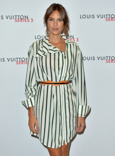 Style icon…Alexa Chung wearing a stripe shirt style dress, attends the Louis Vuitton Series 3 VIP Launch on September 20, 2015. Celebrity fashion / events / dresses  #