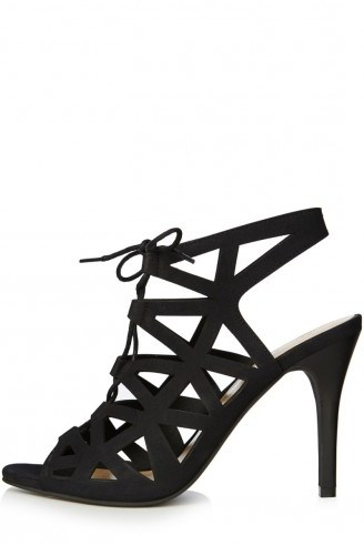 Warehouse lace up cut out heels black. High heeled shoes / going out sandals / stiletto heel / womens footwear  # - flipped