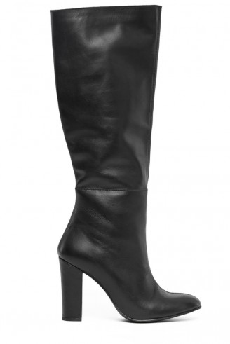 Warehouse leather knee high boots black. Autumn-winter fashion / womens footwear
