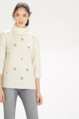 Casual luxe…Warehouse embellished funnel neck jumper cream. Autumn-winter knitted fashion / womens knitwear / jewelled jumpers / jewel embellished sweaters / high neck
