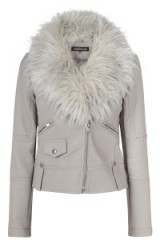 Add some casual chic to your winter wardrobe with a biker jacket boasting a luxe style faux fur collar…love this one from warehouse.co.uk. Womens coats / leather look jackets