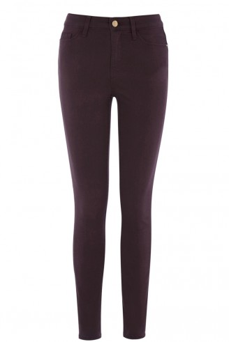 Warehouse signature skinny jean purple. Womens jeans / coloured denim / autumn-winter fashion / autumnal tones