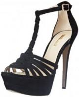 BCBGeneration Women's BG Vixen Dress Sandal in black suede – as worn by Emily Osment at the Go90 Sneak Peek Event in Beverly Hills, 24 September 2015. Celebrity fashion | star style shoes | designer high heels | platform sandals | what celebrities wear