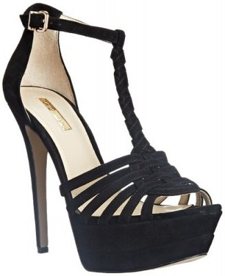 BCBGeneration Women's BG Vixen Dress Sandal in black suede – as worn by Emily Osment at the Go90 Sneak Peek Event in Beverly Hills, 24 September 2015. Celebrity fashion | star style shoes | designer high heels | platform sandals | what celebrities wear - flipped