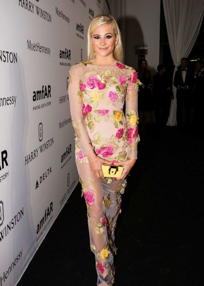 Celebrity style ~ Pixie Lott wears a floral embroidered Blumarine semi sheer gown ~ amfAR Milano 2015, Milan, Italy. Designer gowns / star style / events & galas / long dresses