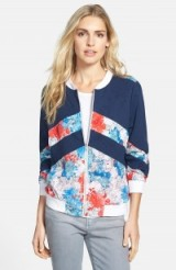 Blue & red Amour Vert floral print bomber jacket. Casual jackets | weekend fashion