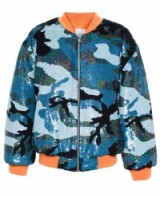 Ashish blue toned sequin camouflage bomber jacket. Designer outerwear | casual fashion | weekend style