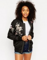 Asos black embroidered bomber jacket. Casual jackets | womens outerwear