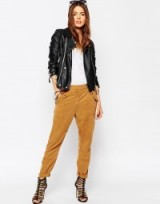 ASOS relaxed peg trousers in soft tencel camel. Womens fashion | casual pants | weekend wear