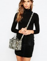 Luxe looks ~ ASOS Structured Box Shoulder Bag in Faux Snake Print. Luxury style handbags ~ cross body bags ~ grab handle