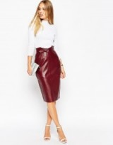 ASOS Utility D Ring Belt Leather Pencil Skirt – as worn by Jasmin Walia out in Manchester, 25 September 2015. Celebrity fashion | star style | what celebrities wear | womens skirts