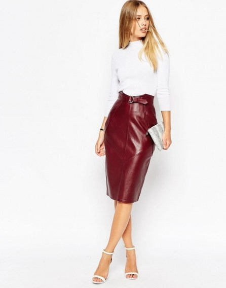 ASOS Utility D Ring Belt Leather Pencil Skirt – as worn by Jasmin Walia out in Manchester, 25 September 2015. Celebrity fashion | star style | what celebrities wear | womens skirts - flipped