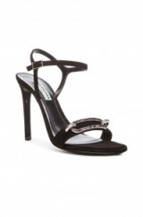 Black Balenciaga Daim Velour Sandals with chain link detail on front. designer shoes – ankle strap high heels