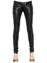 BALMAIN NAPPA LEATHER BIKER PANTS. Black skinny trousers | womens designer clothing | luxury fashion