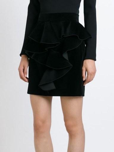 BALMAIN ruffled velvet skirt in black. Designer ruffle skirts | luxe clothing | womens luxury fashion  # - flipped