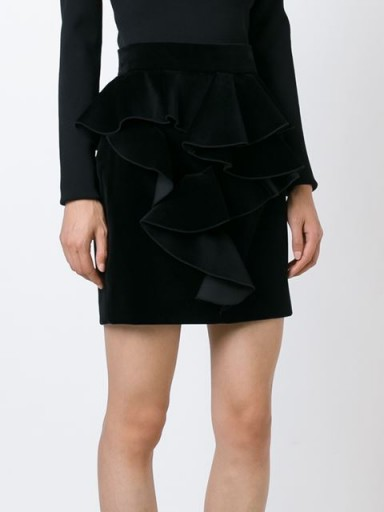 BALMAIN ruffled velvet skirt in black. Designer ruffle skirts | luxe clothing | womens luxury fashion  #