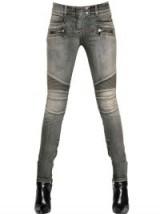 BALMAIN STRETCH COTTON DENIM JEANS. Designer fashion | casual clothing | faded denim | womens skinny jeans