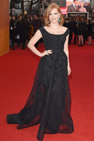 Jessica Chastain in a black embellished Elie Saab gown, attending the London premiere of The Martian, 24 September 2015. Celebrity fashion | star style | film premieres | red carpet events | designer gowns