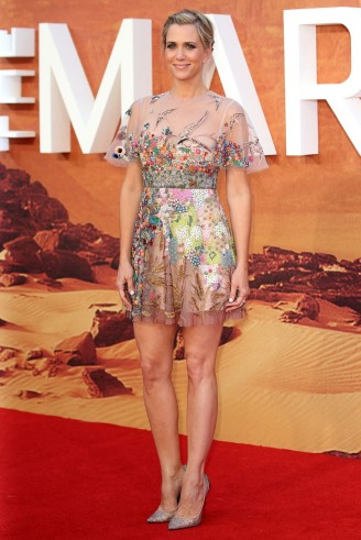 Kristen Wiig attends The Martian London premiere wearing a Valentino sheer embroidered mini dress, Resort 2016. Celebrity fashion | film premieres | star style | red carpet events | designer dresses