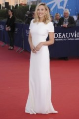 Effortless elegance from Elizabeth Olsen in a white short sleeve column gown by Calvin Klein ~ Deauville American Film Festival ~ September 2015