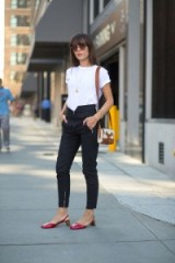 Street style NYFW S/S 2016 – Evangelie Smyrniotaki wearing Gucci Arielle Eel Pumps in red from gucci.com