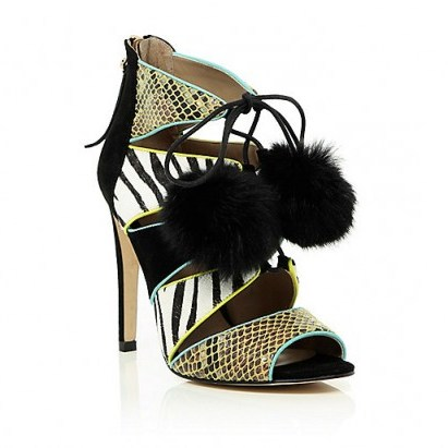 River Island black caged pom pom heeled sandals. High heels / party shoes / womens accessories / going out / evening footwear / animal prints - flipped