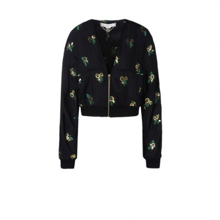 Stella McCartney black Natasha jacket – as worn by Ellie Goulding on Instagram, 24 September 2015. Celebrity fashion | star style | designer floral bomber jackets | what celebrities wear - flipped