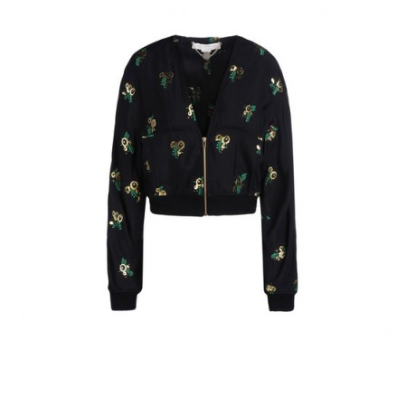 Stella McCartney black Natasha jacket – as worn by Ellie Goulding on Instagram, 24 September 2015. Celebrity fashion | star style | designer floral bomber jackets | what celebrities wear