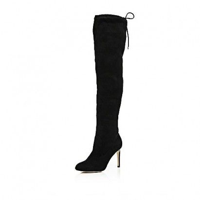 River Island over the knee heeled boots in black. Womens autumn – winter footwear / high heels