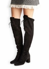 Saint Laurent black suede thigh boots. Over the knee / designer fashion / autumn winter footwear / lace up front