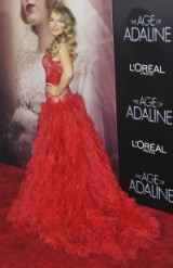 Blake Lively in Monique Lhuillier at The Age of Adaline New York premiere, April 2015. Celebrity fashion / star style / red carpet gowns