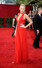 Blake Lively wearing a plunging red Versace gown at the Primetime Emmy Awards in September 2009. Celebrity fashion – Blake Lively's style evolution – red carpet gowns