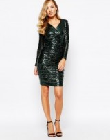 Body Frock ~ Lola sequin embellished dress in emerald green ~ asos.com. Party dresses – occasion wear – evening fashion – going out – wrap style neckline