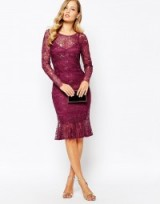 Body Frock ~ Lulu Flip Hem Dress in Berry. Lace party dresses – occasion fashion evening celebration – going out clothing