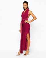 Boohoo Multi Way strappy slinky maxi dress in berry from asos.com. party dresses – evening glamour – going out fashion