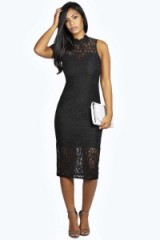 boohoo Boutique Clare lace high neck bodycon midi dress in black from boohoo.com. Going out dresses / party fashion / clubbing glamour / evening wear