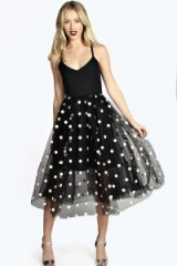 boohoo Boutique Leah polka dot tulle midi dress in black from boohoo.com. Party dresses / evening wear / sheer fashion / monochrome / prom style / full skirt