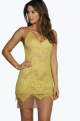 boohoo Boutique Sierra lace plunge bodycon dress in yellow from boohoo.com. Party dresses / going out fashion / evening glamour / night club clothing