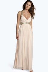 boohoo Boutique Soraya sequin panel mesh maxi dress in blush from boohoo.com. Long evening dresses / party fashion / going out glamour