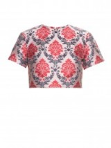 MARY KATRANTZOU Bree damask-jacquard top. runway fashion ~ womens designer clothing ~ richly coloured fabrics ~ luxe style prints ~ luxury crop tops ~ co-ords ~ sets