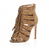 Brown suede tassel heels from River Island. High heels / cut out shoes / tassels / womens footwear