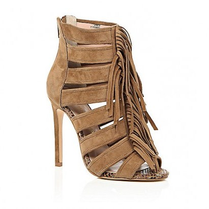 Brown suede tassel heels from River Island. High heels / cut out shoes / tassels / womens footwear - flipped