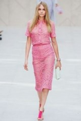 Cara Delevingne in pink Burberry. runway fashion ~ Burberry Prorsum Spring 2014