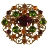 Vintage 1930s Bohemian Coloured Crystal Brooch…gorgeous with autumn & winter knits. Brooches – 30's jewellery