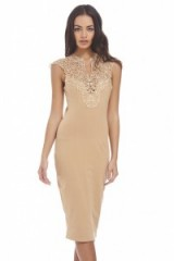 AX Paris – camel crochet neck midi dress. Party dresses ~ going out fashion ~ evening wear